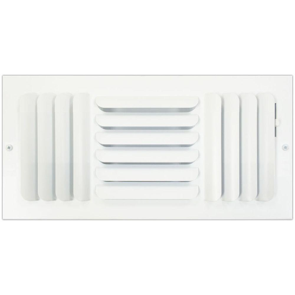 SPEEDI-GRILLE 14 in. x 6 in. Ceiling or Wall Register with Curved 3-Way Deflection, White