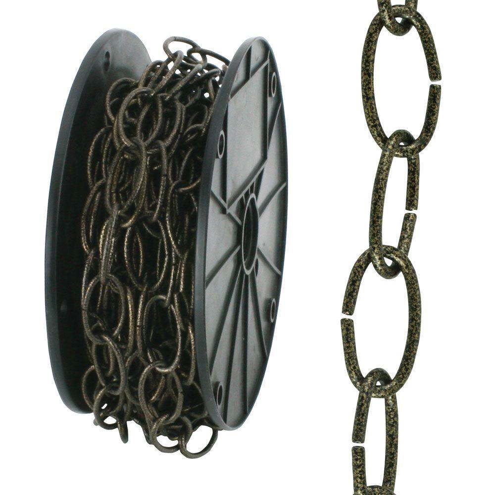 #2/0 x 50 ft. Antique Brass Steel Decorator Chain