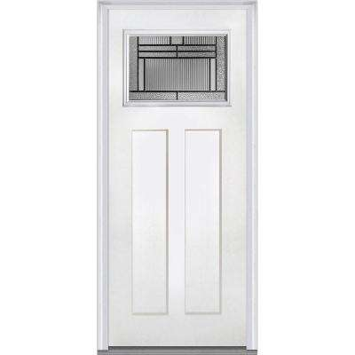 36 in. x 80 in. Brighton Right-Hand Craftsman 1-Lite Decorative 2-Panel Primed Fiberglass Smooth Prehung Front Door
