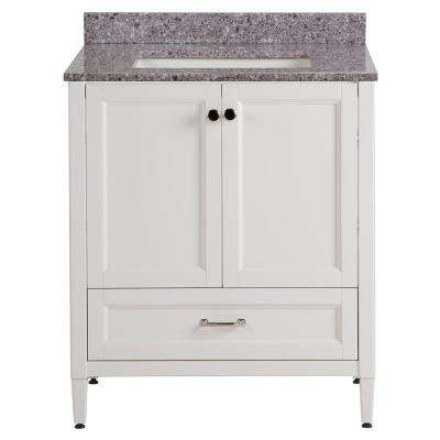 Claxby 31 in. W x 22 in. D Bathroom Vanity in Cream with Stone Effect Vanity Top in Mineral Gray with White Sink