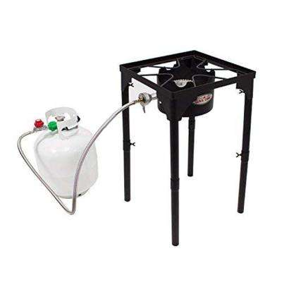 100,000 BTU High Pressure Propane Burner Outdoor Cooker Turkey Fryer with Adjustable Leg and Steel Braided Hose