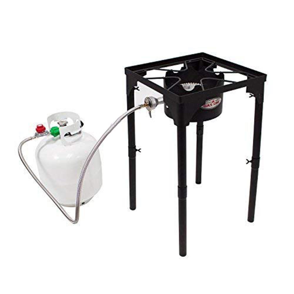 100,000 BTU High Pressure Propane Burner Outdoor Cooker Turkey Fryer with Adjustable Leg and Steel Braided Hose