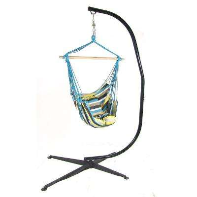 3.25 ft. Fabric Hanging Hammock Swing and 2-Cushions with C-Stand in Ocean View
