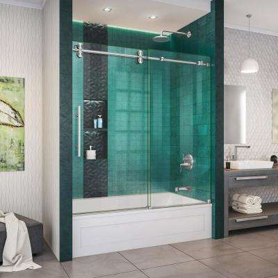 Enigma-XO 55-59 in. W x 62 in. H Fully Frameless Sliding Tub Door in Brushed Stainless Steel