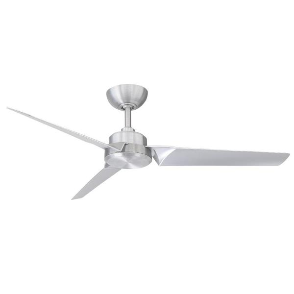Roboto 52 in. Indoor/Outdoor Brushed Aluminum 3-Blade Smart Ceiling Fan with Wall Control
