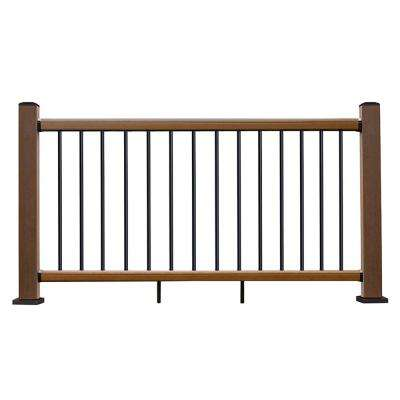Ultrashield Hemispheres 36 in. x 3 in. x 6 ft. Peruvian Teak Composite Railing Kit