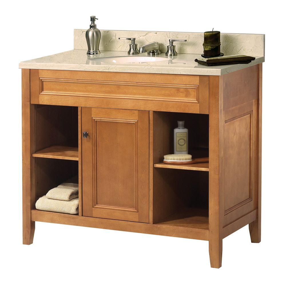 Foremost Exhibit 37 in. W x 22 in. D Vanity in Rich Cinnamon with Marble Vanity Top in Crema Marfil with White Basin