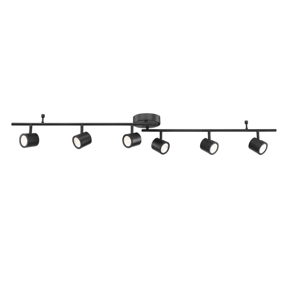 6 Light Black Integrated Led Track Lighting Kit With Adjule Bar And Rotating Heads