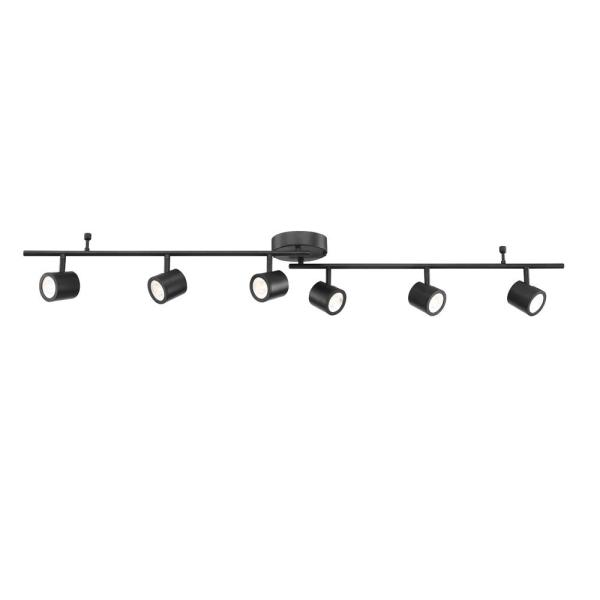 4.33 ft. 6-Light Black Integrated LED Track Lighting Kit with Adjustable Bar and 6-Rotating Track Heads