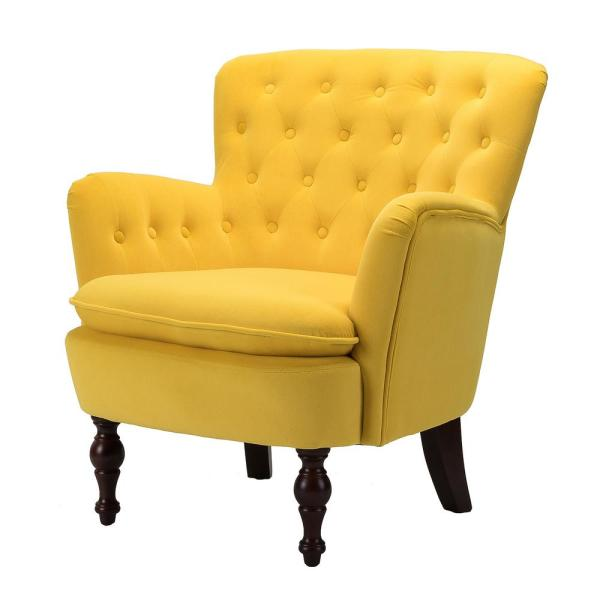 Boyel Living Mustard Yellow Antique Accent Single Sofa Comfy Upholstered Arm Chair With Cushion Jxy Wfhm1126y The Home Depot
