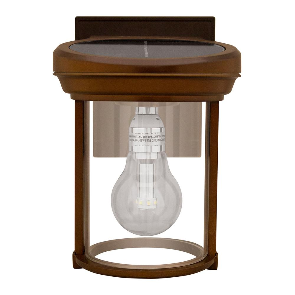 Gama Sonic Solar Coach 1-Light Red Copper Outdoor Integrated LED Wall Mount Lantern with GS Solar Light Bulb