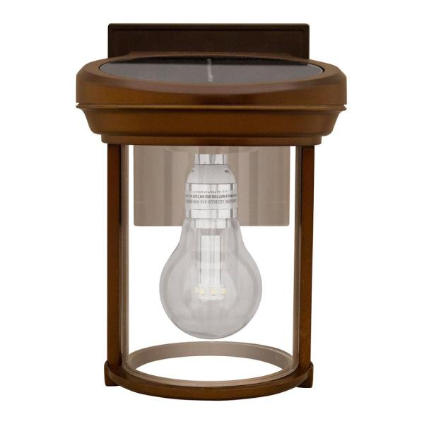 Solar Coach 1-Light Red Copper Outdoor Integrated LED Wall Mount Lantern Sconce with GS Solar Light Bulb