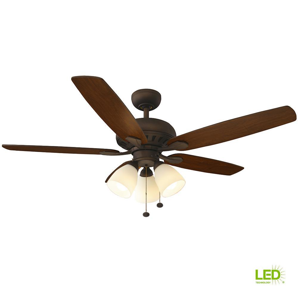 Hampton Bay Rockport 52 In Led Oil Rubbed Bronze Ceiling Fan With Wiring Two Switches To One Light Besides Diagram Kit