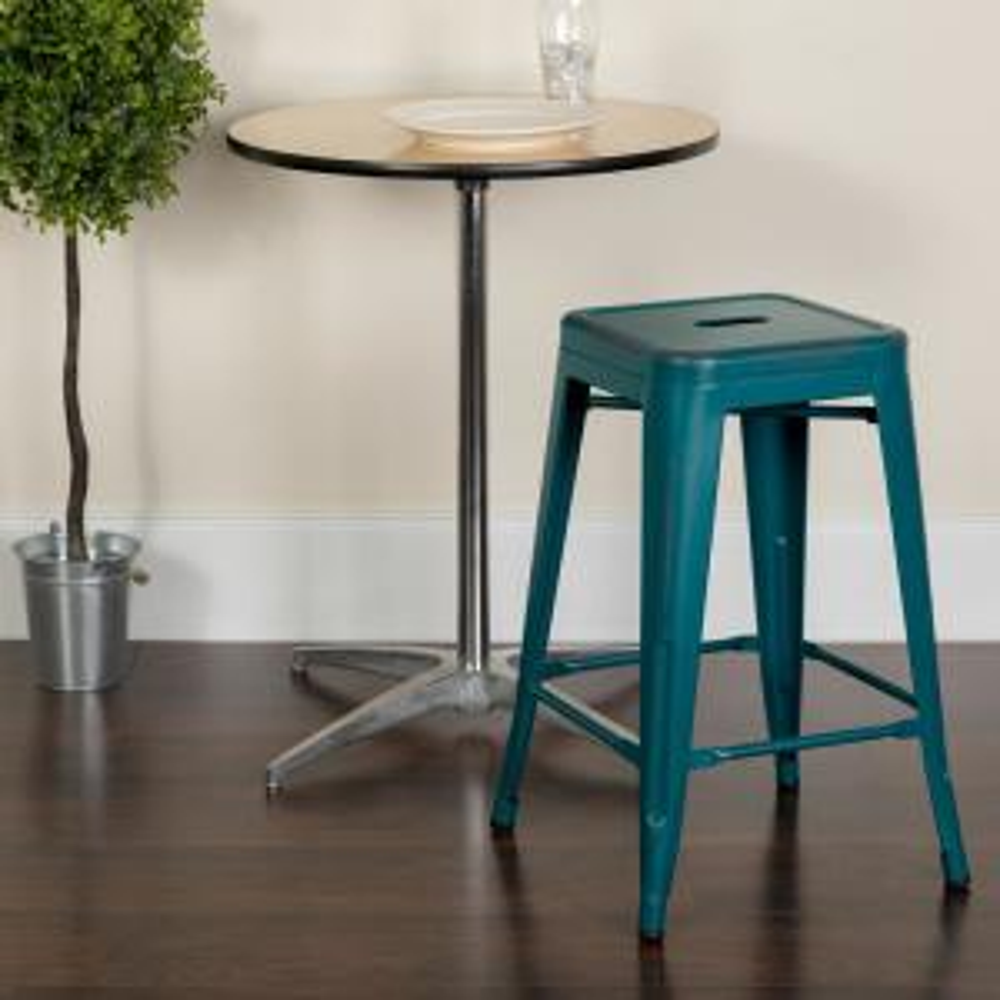 Flash Furniture 24 in. Distressed Blue Bar Stool ...