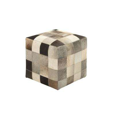 Multi-colored Leather Patchwork Ottoman
