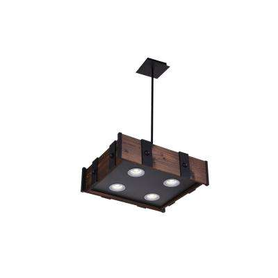 Pago 7-Watt Black Integrated LED Chandelier