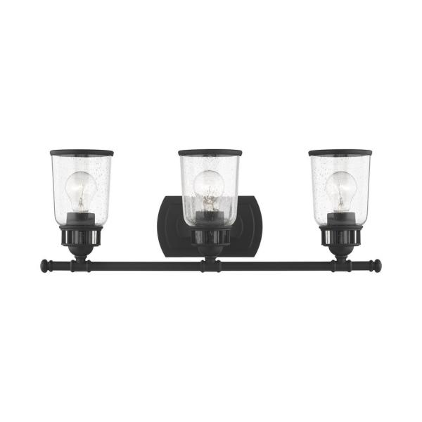 Lawrenceville 7.75 in. 3-Light Black Vanity Light with Clear Seeded Glass Shades