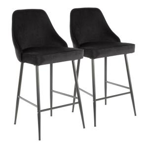 Lumisource Marcel 25 In Black Metal Counter Stool With