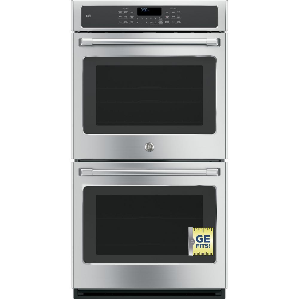 GE 27 in. Double Electric Smart Wall Oven Self-Cleaning w...