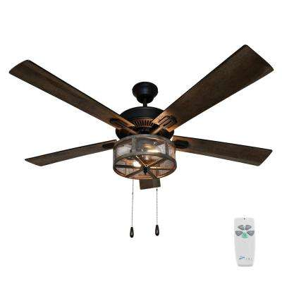 Prairie 52 in. Indoor Oil Rubbed Bronze Caged LED Ceiling Fan with Light
