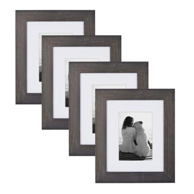 Museum 8 in. x 10 in. Matted to 5 in. x 7 in. Gray Picture Frame (Set of 4)