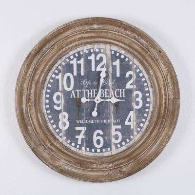 Life Is Good  Distressed Brown Oversize Wall Clock