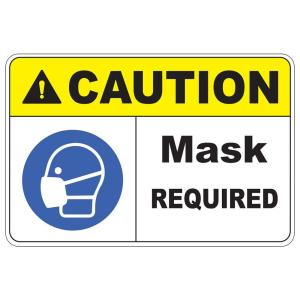 Click here to buy  Rectangular Plastic Caution Mask Required Safety Sign.