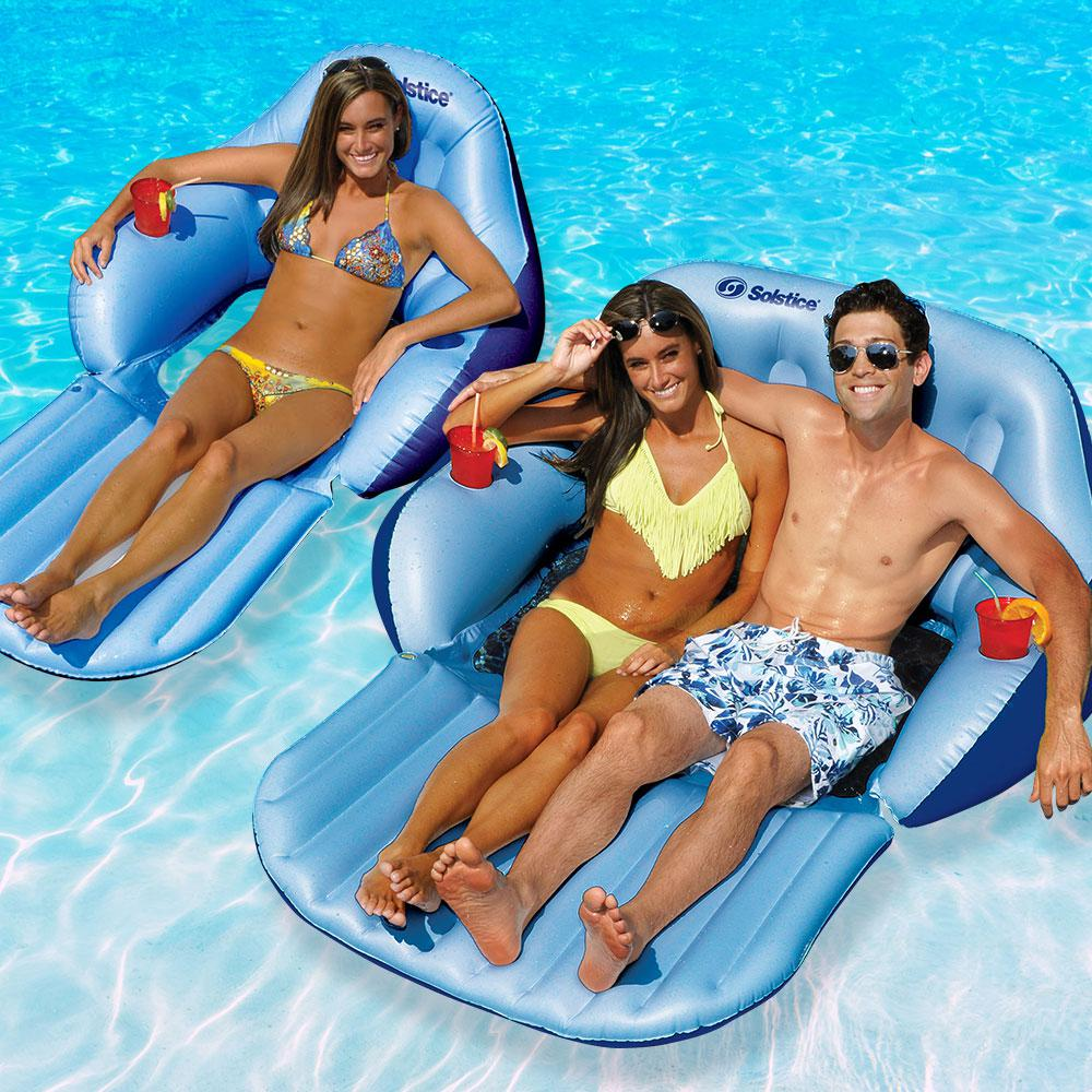 Swimline Solstice Solo And Duo Easy Chair Convertible Pool Float Combo Pack