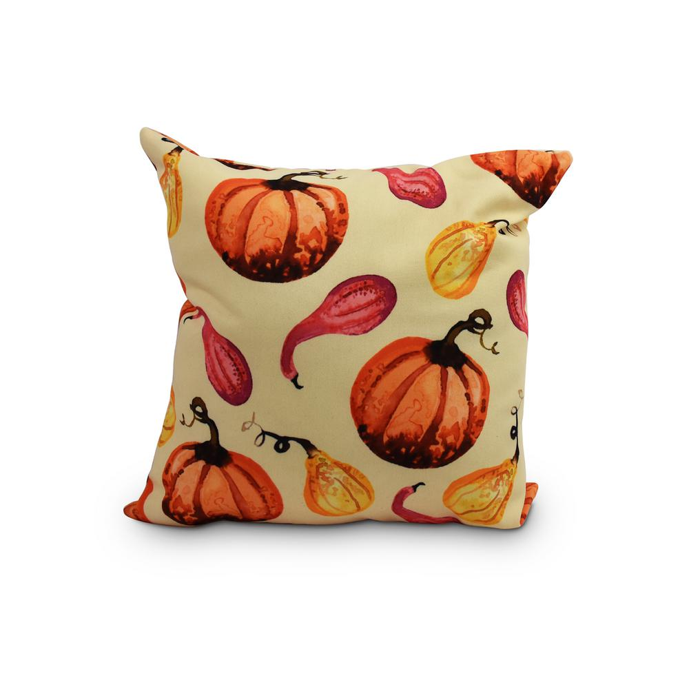 16 in. Gourds Galore Light yellow Fall Print Decorative Throw Pillow