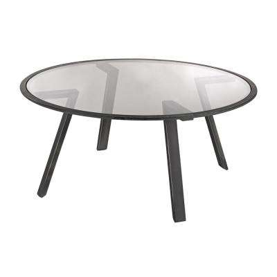 Geometric Pewter  Metal and Glass Coffee Table