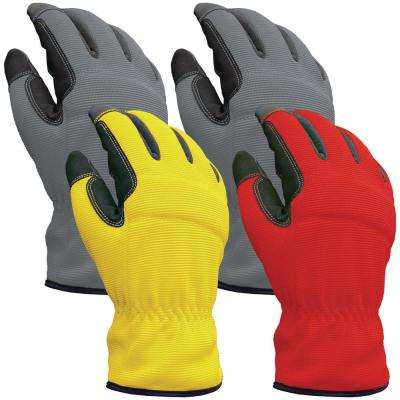 Utility Large Multi Color Synthetic Leather Glove (4-Pack)