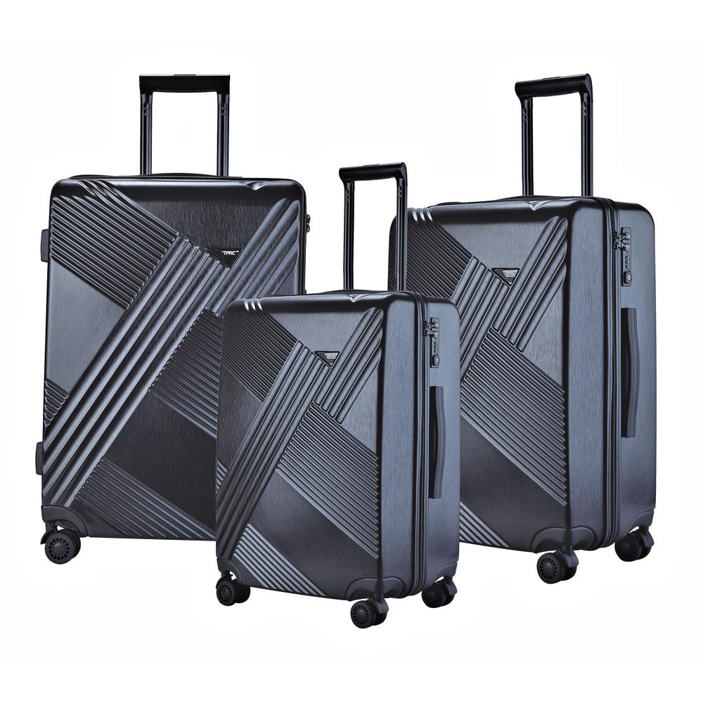 3-Piece Black Hardside Vertical Luggage Checked Bag with Spinner Wheels