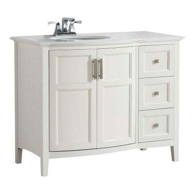Wilshire 42 in. Bath Vanity in Pure White with Engineered Quartz Marble Vanity Top in Bombay White with White Basin