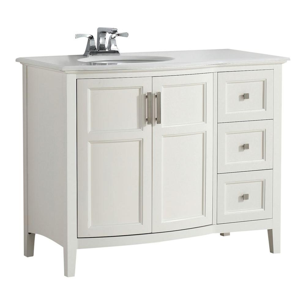 Simpli Home Winston Rounded Front 42 in. Bath Vanity in Soft White with  Quartz Marble Vanity Top in Bombay White with White Basin