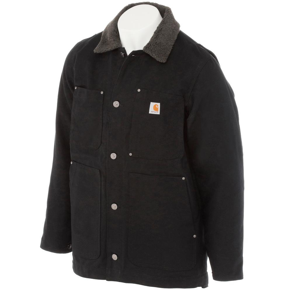 Carhartt Men's Regular Medium Black Cotton Full Swing Chore Coat