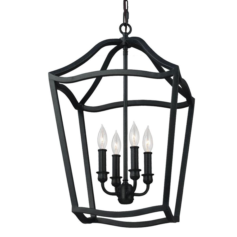 Feiss Yarmouth 4-Light Antique Forged Iron Hall Fixture Chandelier