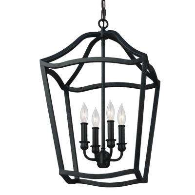 Yarmouth 4-Light Antique Forged Iron Hall Fixture Chandelier