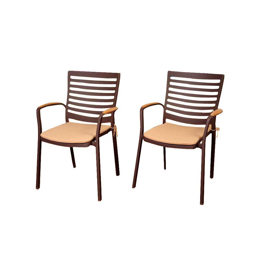 Davie 4 Piece Teak Cast Aluminum Patio Armchair Set With Tan Cushions