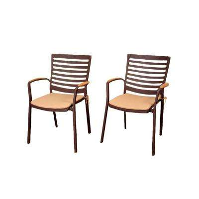 Davie 4-Piece Teak/Cast Aluminum Patio Armchair Set with Tan Cushions