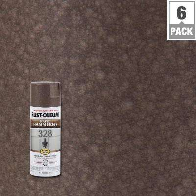 12 oz. Matte Brown Protective Enamel Hammered Spray Paint (6-Pack)