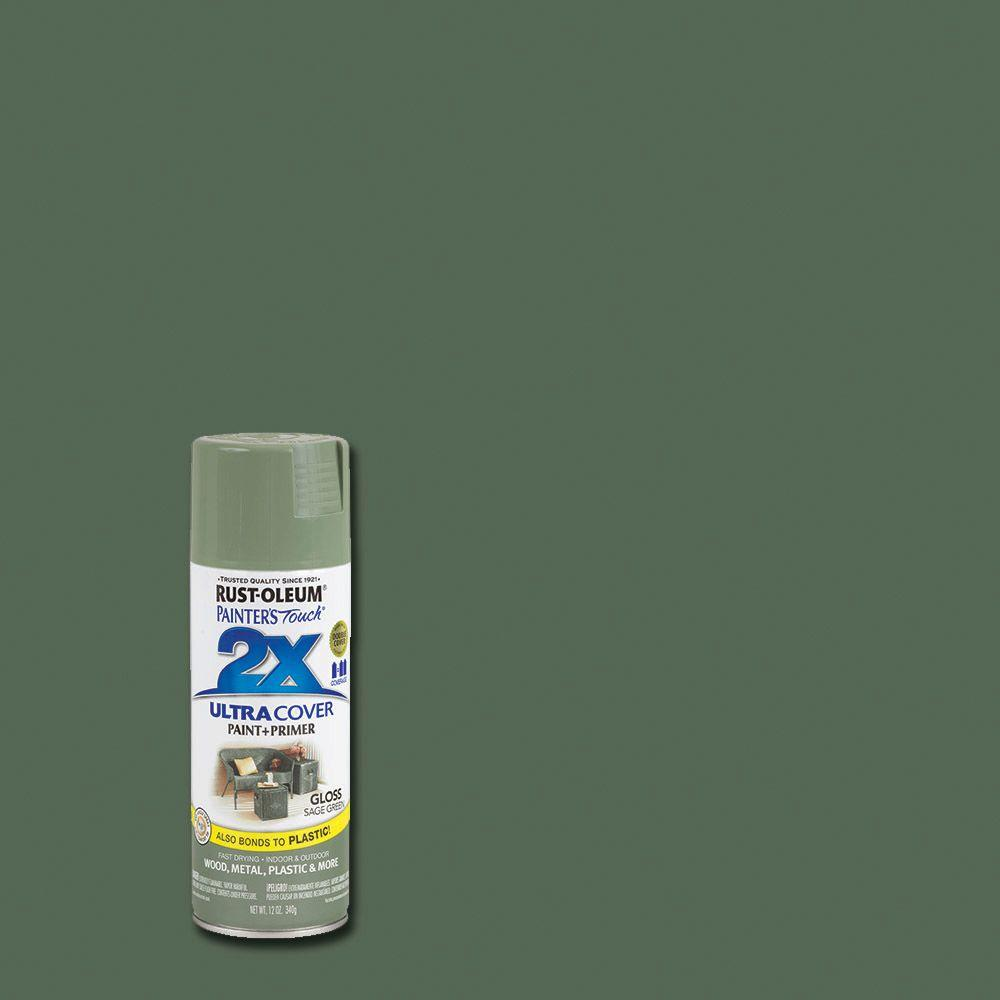 Rust oleum painter39s touch 2x 12 oz gloss sage green for Spray paint for furniture home depot