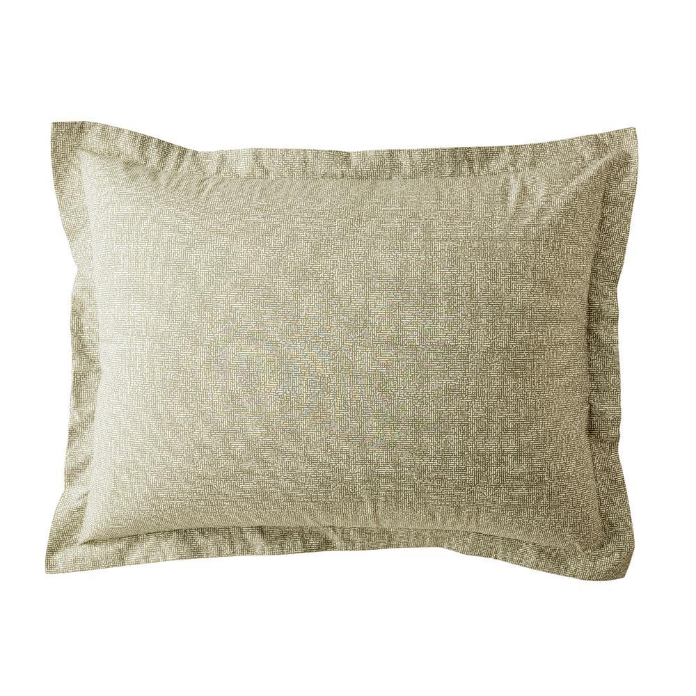 LoftHome Maze Khaki Geometric 200-Thread Count Organic Cotton Percale King Sham