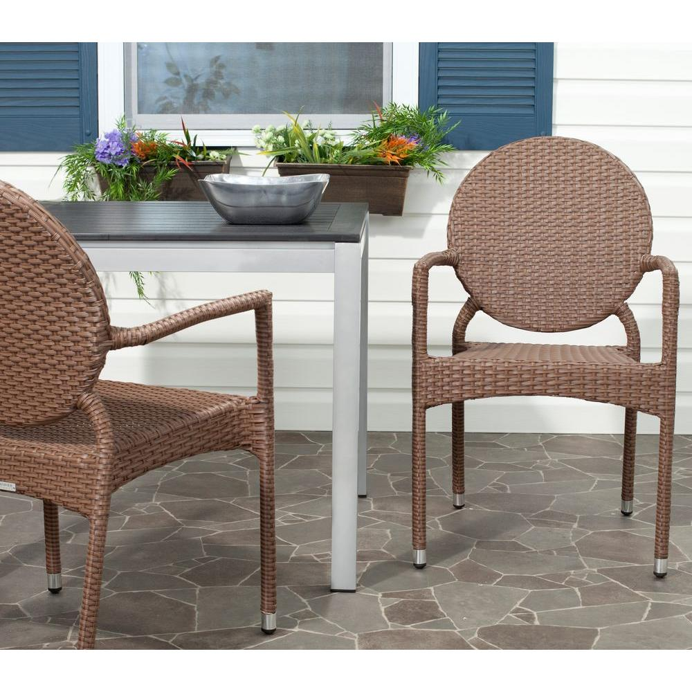 safavieh valdez brown patio stacking armchair 2 pack fox5205a set2