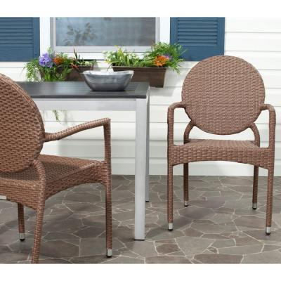 Valdez Brown Stackable Aluminum/Wicker Outdoor Dining Chair (2-Pack)