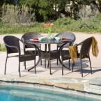 Sunset Bronze and Mixed Brown 5-Piece Aluminum and Wicker Outdoor Dining Set