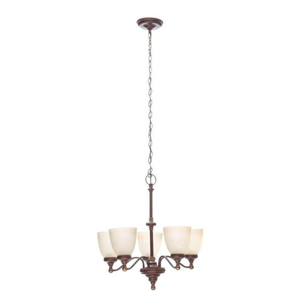 Hampton Bay Bristol 5 Light Nutmeg Bronze Chandelier With Tea Stained Glass Shades Fnk8115a 3 The Home Depot