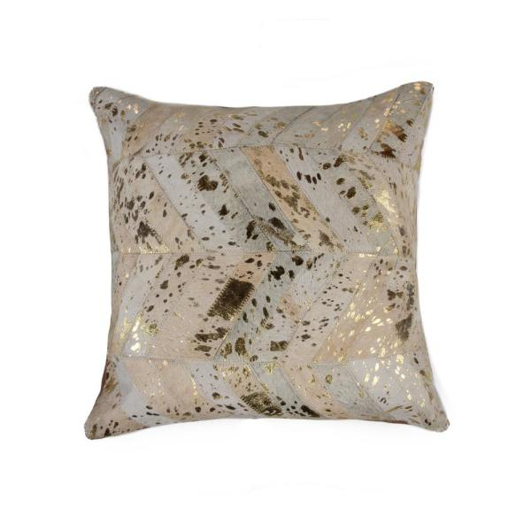Torino Chevron Cowhide Natural & Gold Animal Print 18 in. x 18 in. Throw Pillow