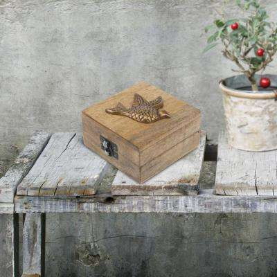 4 in. x 2.5 in. Natural Wood Hinged Box with Latch and Sparrow Decoration