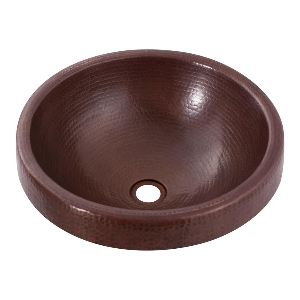 Granada Round Drop-In Copper Bathroom Sink in Antique
