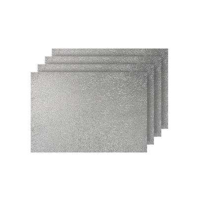 Lacey Silver Metallic Scribble Design Rectangle Placemats (Set of 4)